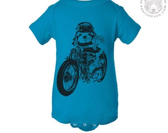 Baby One-Piece SLOTH MOTO motorcycle bike  Eco screen printed (+ Color Options) - FREE Shipping