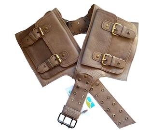 Leather Utility Belt   Beige Adjustable, 4 Pocket   Saddle   travel, festival, cosplay, fits iPhone