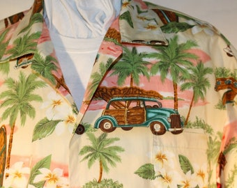 Vintage Hawaiian Shirt by KY's,, Made in USA,, 100% Cotton, Made in USA