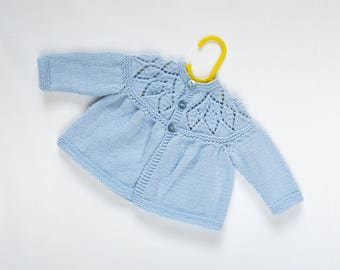 Traditional Style Baby Matinee Coat - Baby Blue - Hand Knit Baby Cardigan.