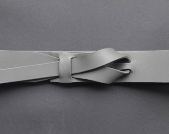 Grey Muse Leather Buckle less Belt 1 1/2 inch  Nickel-Free/ Vegetable tanned leather