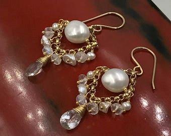 Moonstone Chandelier Earring Pearl Chandelier Earring Petite Gemstone Chandelier White Topaz Earrings 14kt Gold Fill Sterling Silver