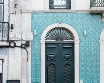Door 1 -  Green and Teal Door of Lisbon - Portugal photography, Portuguese Tiles, Door in Lisbon, green wall art, portugal architecture
