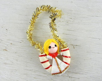 Mid Century Angel Christmas Ornament | Kitsch Blond Angel Pixie Candy Cane | Vintage Christmas Decoration | Made in Japan