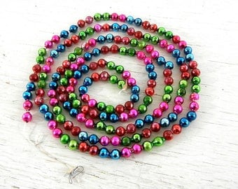 Vintage Christmas Glass Garland | Red Green Pink Blue Beads | Vintage Christmas Tree Decoration