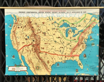 Vintage US History Roll Up Pull Down School Map of the USA in 1609