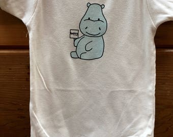 Organic Baby Clothes, Baby Body Suit, Organic Baby Clothing, Baby One Piece, Happy Hippo, Organic Cotton