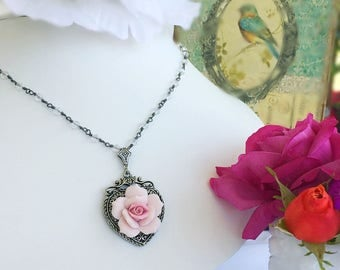Victorian Necklace - Rose - Birthday Gift - Romantic - SWEET ROMANCE