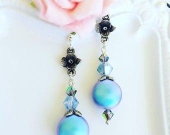 Pearl Earrings - Blue - Summer Earrings - Dangle - NIGHT SONG Blue