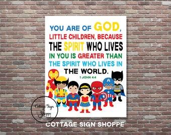 1 John 4:4, Childrens Superhero Scriptures,Kids Superhero Bible Verse Art, DIGITAL, YOU PRINT, Christian Superhero Decor,Superhero Scripture