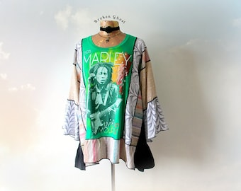Bob Marley Shirt Boho Recycled Fashion Women's Hippie Tunic Bohemian Chic Stevie Nicks Top Plus Size Clothes Colorful Smock Top 2X 'ERIKA'