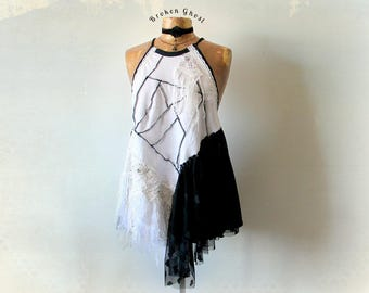 Shabby Art Clothing Bohemian Halter Top Tattered Gypsy Boho Blouse Women's Sexy Tank Black White Hippie Clothes Rustic Design L 'CAPRICE'