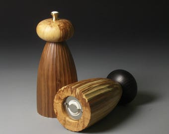 Fluted Walnut and Spalted Beech Pepper Mills