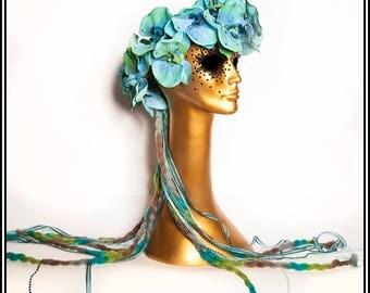 Fairy Dust.... Blue Orchid Floral Wreath with Ribbones, Yarn, Rhinestones Flowers