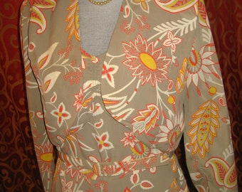"""1940's, 36"""" bust, 2 piece tropical, dress and marching bolero jacket"""