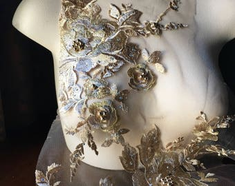 SECOND - GOLD Lace Applique #5 , Beaded and Embroidered for Lyrical Dance, Ballet, Couture Gowns F16