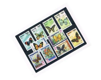 Vintage Butterfly Postal Stamps | beautiful butterflies, nature theme used Cambodia postage stamp selection | craft collage upcycle collect