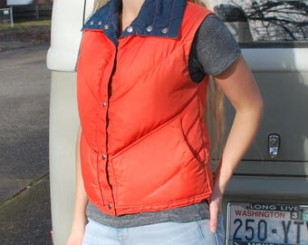 Vintage 70's/80's Reversible Nylon Down Vest Puffer Vest