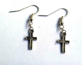 Silver cross earrings - Christian earrings - gothic earrings