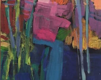 """Monadnock - Original Acrylic Oil Encaustic Landscape Painting - 8"""" x 8"""""""