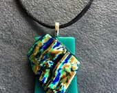 Architectural Dichroic Glass Pendant in Teal and Taupe...