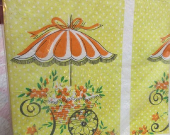 Vintage 54 x 96 Bridal Shower Paper Tablecloth Table Cover Retro Yellow Orange