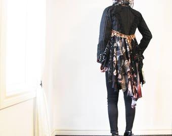 upcycled clothing, upcycled fashion, wearable art, cropped bustle jacket . dangerous days . XS - S