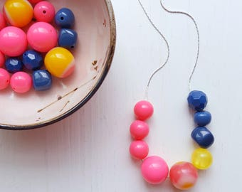 optimism necklace - vintage remixed beads - colorblock - neon pink yellow