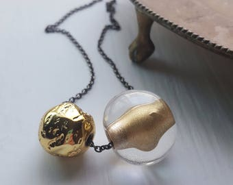 layering necklace - vintage remixed lucite necklace - hens and chicks necklace - brass chain