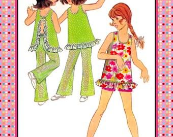 Vintage 1960s-GROOVY GIRL-Sewing Pattern-Long Top-U Shape Neckline-Ruffle Edge-Rick-Rack Trim-Loose Fit-Matching  Pants-Shorts-Size 8-Rare