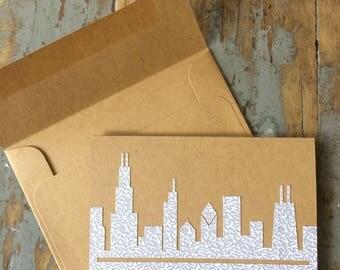 Chicago Skyline card. Blank inside. Recycled.