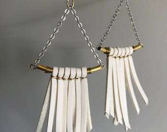 Libra Earrings | White Vegan Leather Fringe