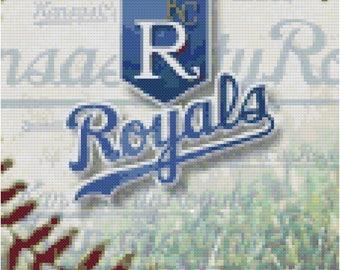 MLB Kansas City Royals Baseball Counted Cross Stitch Pattern