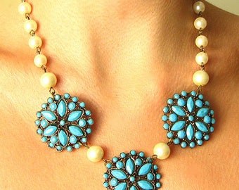Turquoise Bridal Jewelry Bridal Necklace Turquoise Jewelry Flower Necklace Statement Necklace Bridesmaid Jewelry by Zafirenia