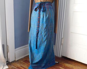 Vintage Peacock Blue Printed Silk Wrap-Around Calf-Length Skirt - Boho Clothing - One Size Fits All - Iridescent Flame Pattern - Bow Closure