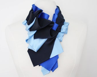 Lapel in Blue Color Block - Edwardian Silk Ruffle Couture Necktie Collar