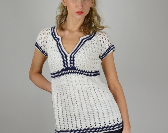 sale Nautical Clothing, Sailor Top,Tunic Top, Cotton Sweater, Summer Sweater, Vintage Sweater, 90s Top, Resort Wear