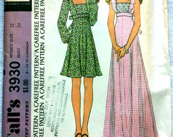 Vintage 1974 McCalls 3930: DIY Sewing pattern in Illustrated Packet. Super flattering Maxi or Short-dress. 1970s style DIY Teen Glam Style!