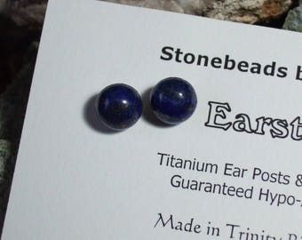 Rich Deep Blue 8mm Round Lapis Lazuli Titanium Ear Posts Clutches Studs Earrings Earings Mystery Hypo Allergenic
