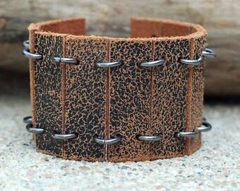Leather Belt Cuff, Black and Brown Leather Cuff Bracelet, Leather Belt Cuff Bracelet, Repurposed Leather Belt, Upcycled Leather Belt