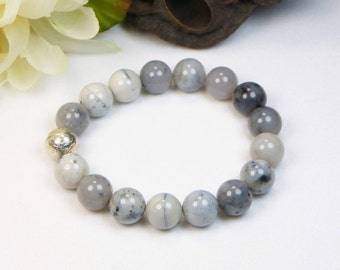 Montanna Agate Bracelet - Stretch Bracelet - Stackable Bracelet - Gemstone Beaded Bracelet - Womens Bracelet - Gift