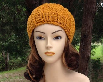Gold Cable Winter Hat, Womans Gold Crocheted Beanie