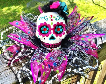 SALE - Colorful Lady Skull Dia de los Muertos Sugar Skull - Day of the Dead Halloween Centerpiece