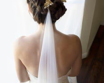 Wedding hair pins, wedding drop veil, draped veil, drape veil, bridal hair pins, ginkgo hair pins, wedding hairpieces, wedding headpiece