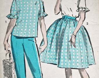 """Vintage 1960s Sewing Pattern, Advance 2921, Misses' Blouse, Pants and Skirt.  Misses' Size 14, Bust 34"""""""