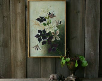 Antique Hand Painted Oil Painting Floral Moody Symbolism Greens White Pink 1950s