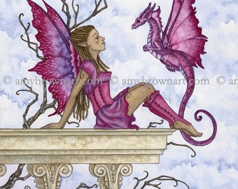 The Visit fairy and dragon 8X10 PRINT by Amy Brown