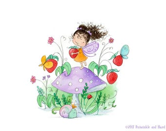 Strawberry Fairy - Curly Brunette in Strawberry Patch - Art Print
