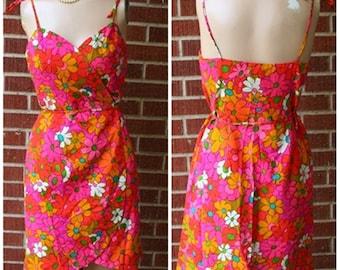 Vintage Hawaiian Hawaii Lila of honolulu Liberty House Flower Power Mini Wrap Summer Dress 60s 1960s Pink Swim Suit Cover