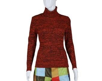 Space Dye Sweater Knit Turtle Neck Sweater Orange Brown Sweater 70s Sweater 1970s Sweater Turtleneck